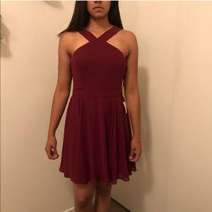 {Lulu's} Burgundy Skater Dress